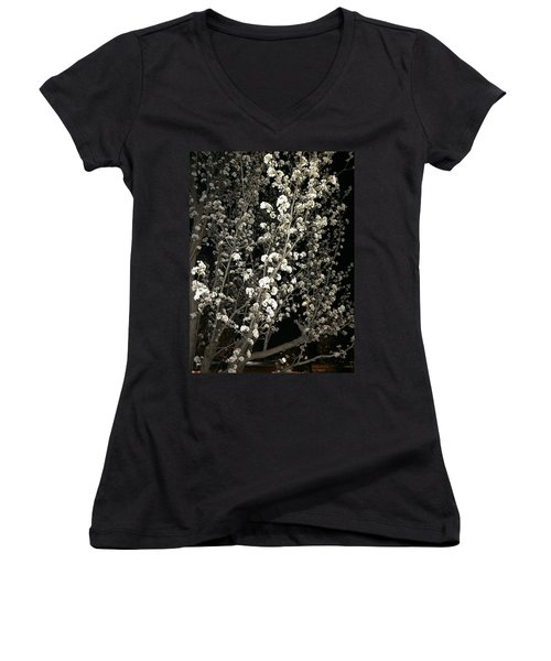 Spring Blossoms Glowing Women's V-Neck T-Shirt