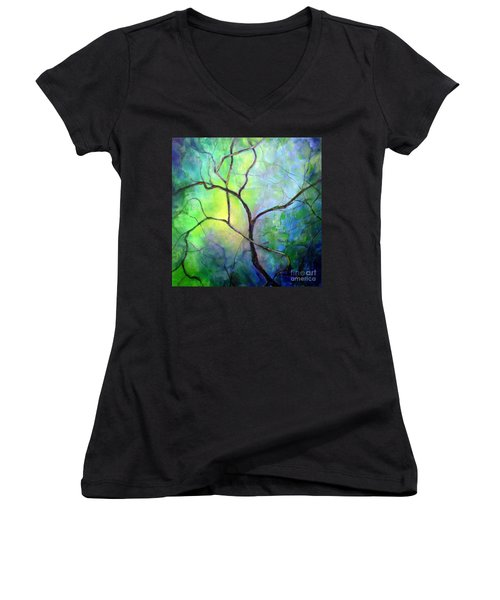 Spring Catawba Tree Women's V-Neck T-Shirt (Junior Cut) by Jodie Marie Anne Richardson Traugott          aka jm-ART