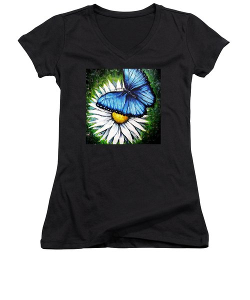 Women's V-Neck T-Shirt (Junior Cut) featuring the painting Spring Has Sprung by Shana Rowe Jackson