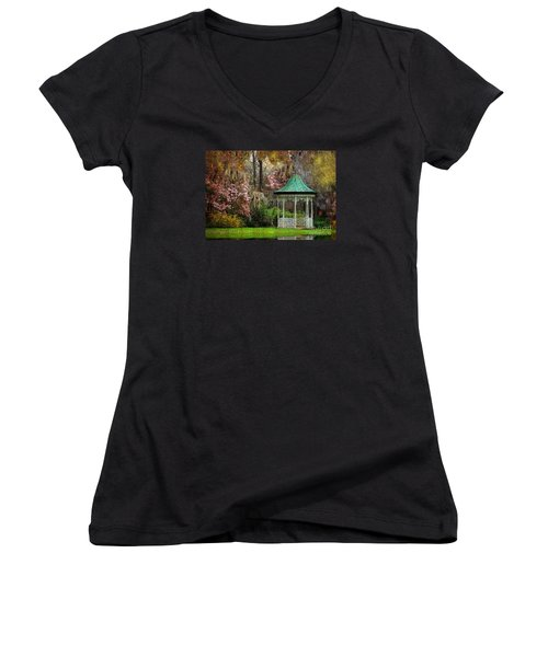 Women's V-Neck T-Shirt (Junior Cut) featuring the photograph Spring Magnolia Garden At Magnolia Plantation by Kathy Baccari