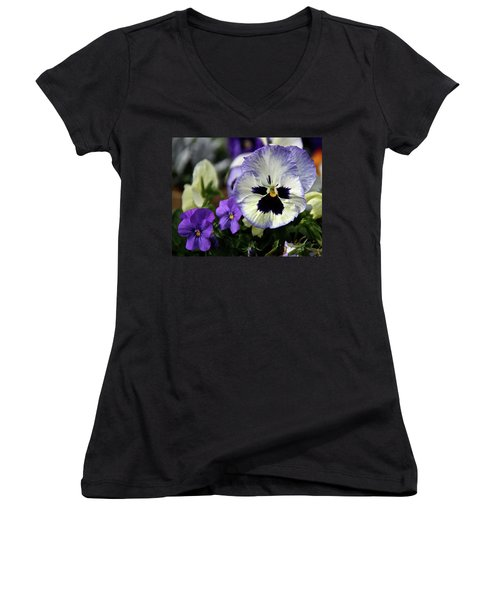 Spring Pansy Flower Women's V-Neck T-Shirt (Junior Cut) by Ed  Riche