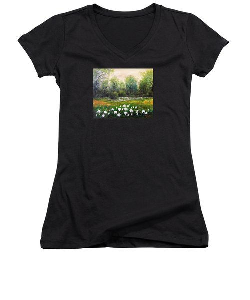 Women's V-Neck T-Shirt (Junior Cut) featuring the painting Spring by Vesna Martinjak