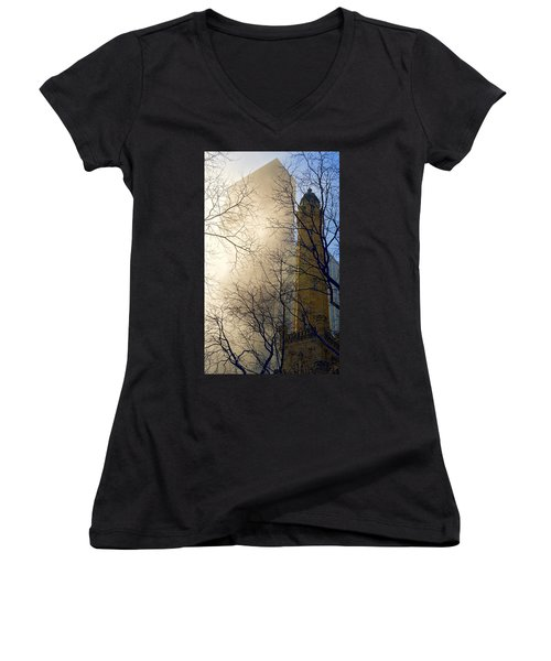 Women's V-Neck T-Shirt featuring the photograph Springtime In Chicago by Steven Sparks