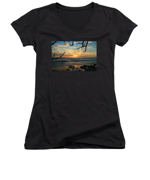 Spying At The Sun Women's V-Neck T-Shirt (Junior Cut) by Catie Canetti