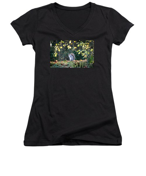 Squirrel Perched Women's V-Neck (Athletic Fit)