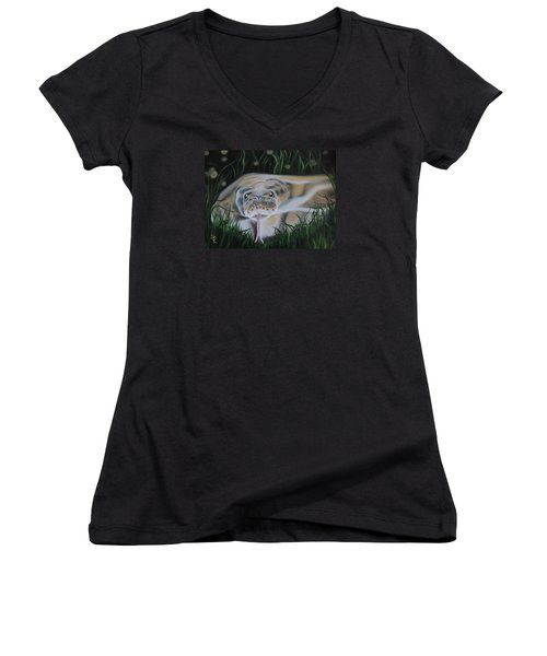 Women's V-Neck T-Shirt (Junior Cut) featuring the painting Ssssmantha by Dianna Lewis