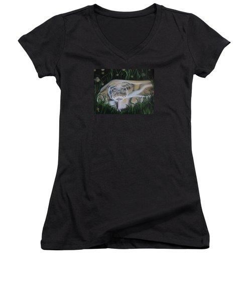 Ssssmantha Women's V-Neck T-Shirt (Junior Cut) by Dianna Lewis