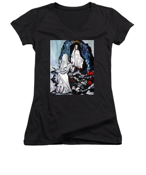 St. Bernadette At The Grotto Women's V-Neck T-Shirt
