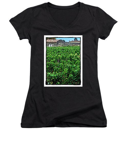 Women's V-Neck T-Shirt (Junior Cut) featuring the photograph St. Emilion Winery by Joan  Minchak