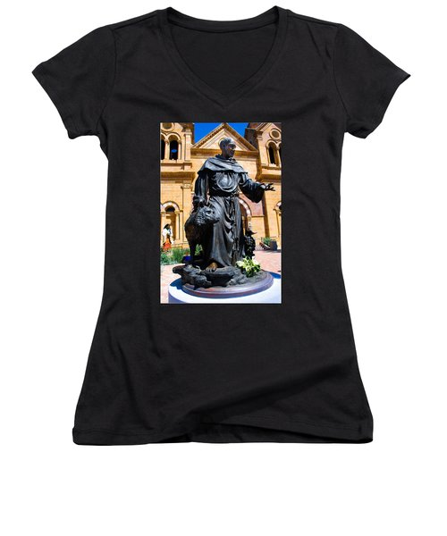 St Francis Of Assisi - Santa Fe Women's V-Neck (Athletic Fit)
