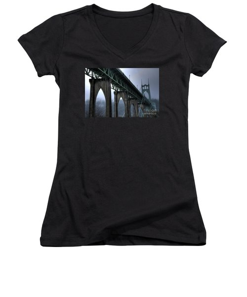 St Johns Bridge Oregon Women's V-Neck T-Shirt