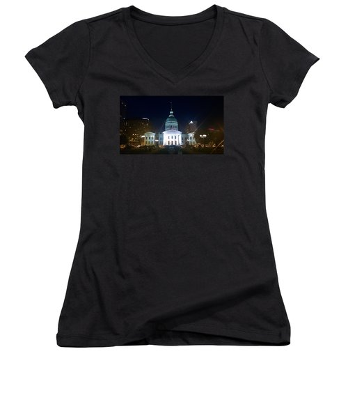 Women's V-Neck T-Shirt (Junior Cut) featuring the photograph St. Louis At Night by Chris Tarpening