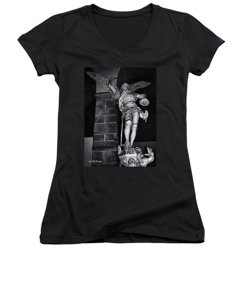 St. Michel Slaying The Dragon Women's V-Neck T-Shirt (Junior Cut) by Elf Evans