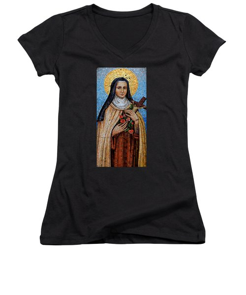 St. Theresa Mosaic Women's V-Neck T-Shirt