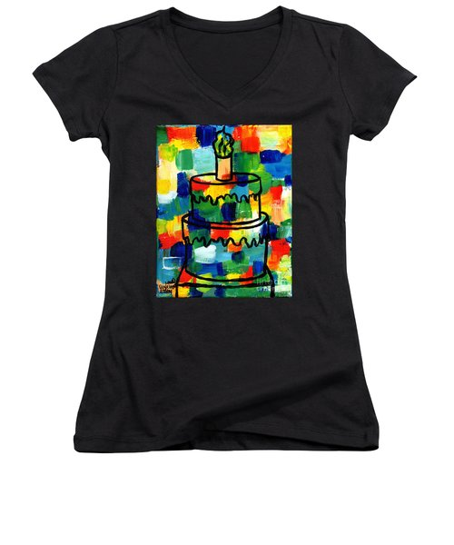 Stl250 Birthday Cake Abstract Women's V-Neck T-Shirt (Junior Cut) by Genevieve Esson