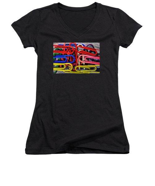 Stacks Of Clips Women's V-Neck T-Shirt