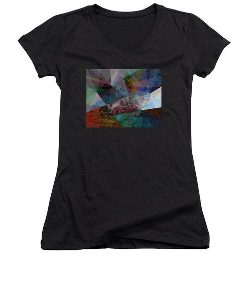 Stain Glass I Women's V-Neck T-Shirt (Junior Cut) by David Bridburg