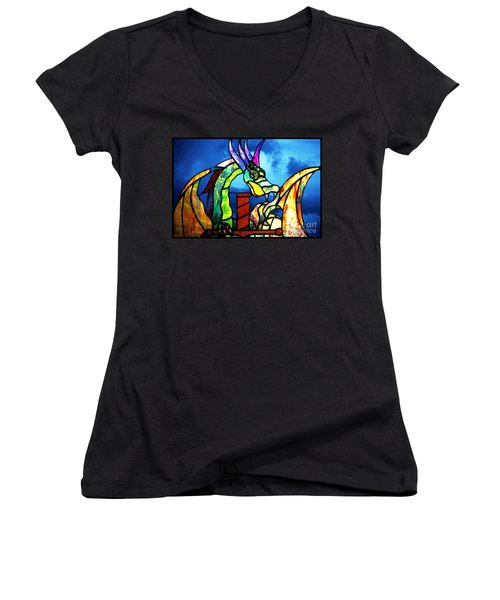 Stained Glass Dragon Women's V-Neck