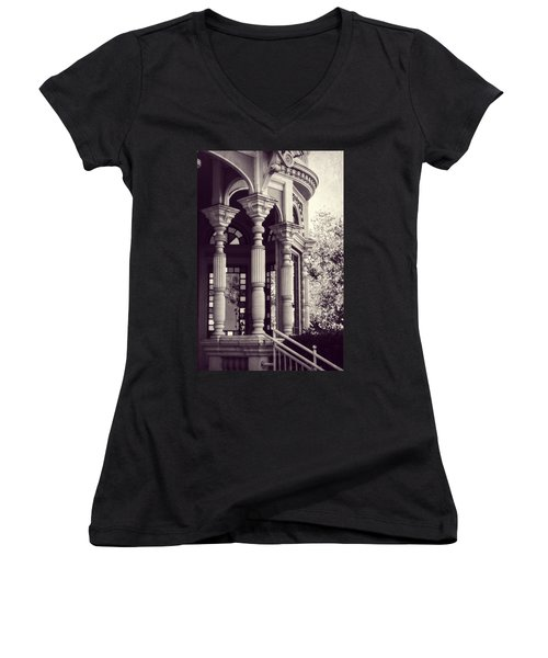 Women's V-Neck T-Shirt (Junior Cut) featuring the photograph Stained Glass Memories by Melanie Lankford Photography