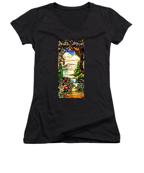 Stained Glass No Border Women's V-Neck T-Shirt (Junior Cut) by Kristin Elmquist