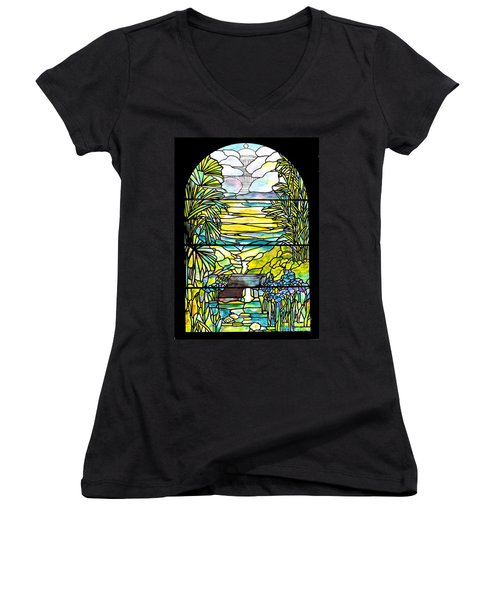 Stained Glass Tiffany Holy City Memorial Window Women's V-Neck T-Shirt (Junior Cut) by Donna Walsh
