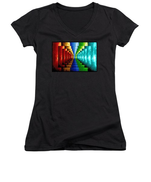 Women's V-Neck T-Shirt (Junior Cut) featuring the digital art Stairsteps by Paula Ayers