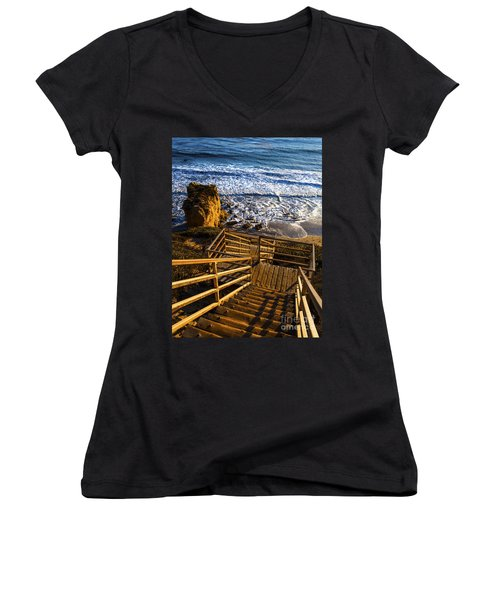 Women's V-Neck T-Shirt (Junior Cut) featuring the photograph Steps To Blue Ocean And Rocky Beach by Jerry Cowart
