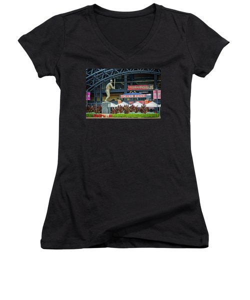 Stan Musial Statue At Busch Stadium St Louis Mo Women's V-Neck T-Shirt (Junior Cut) by Greg Kluempers
