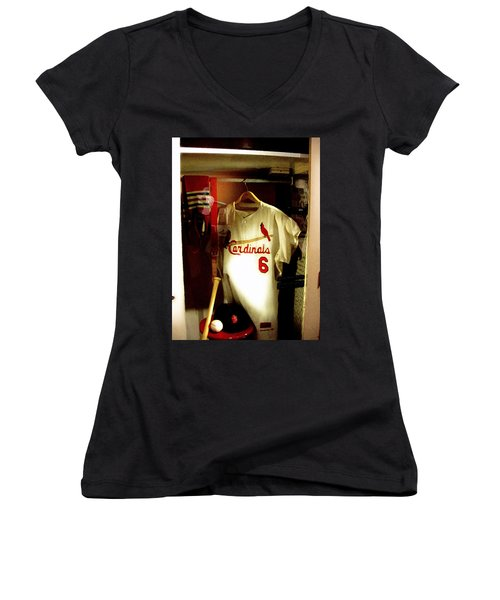 Stan The Man's Locker Stan Musial Women's V-Neck T-Shirt (Junior Cut) by Iconic Images Art Gallery David Pucciarelli