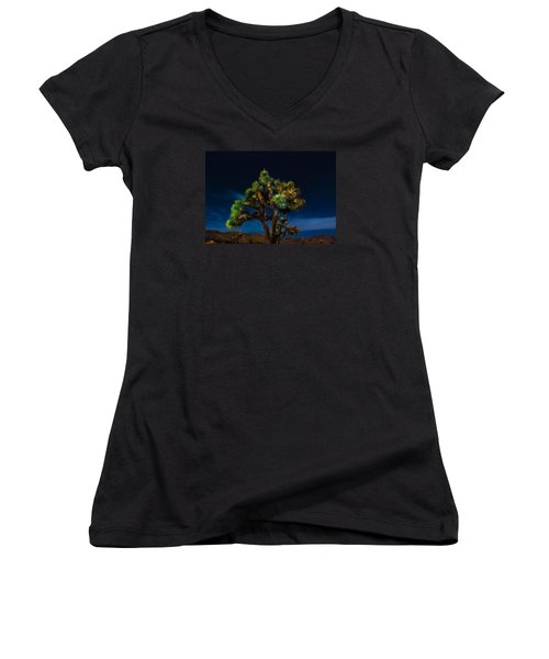 Standing Women's V-Neck T-Shirt (Junior Cut) by Angela J Wright