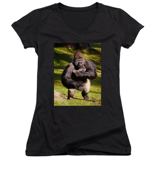Standing Silverback Gorilla Women's V-Neck (Athletic Fit)