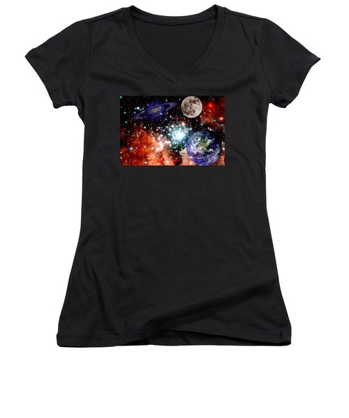 Star Field With Planets Women's V-Neck (Athletic Fit)