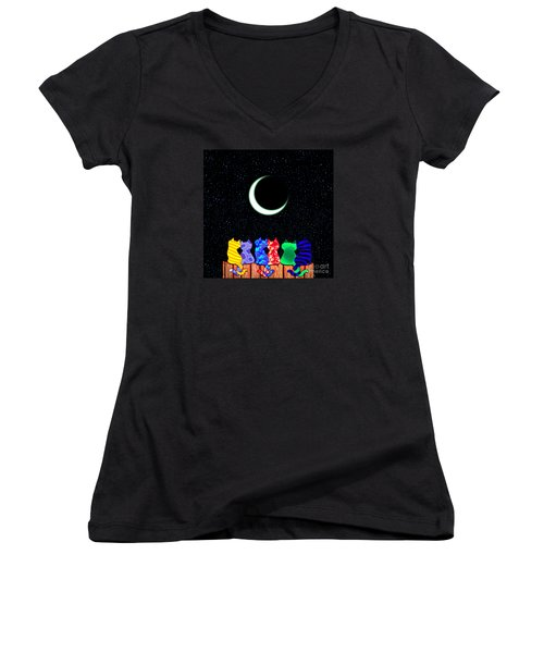 Star Gazers Women's V-Neck T-Shirt (Junior Cut) by Nick Gustafson