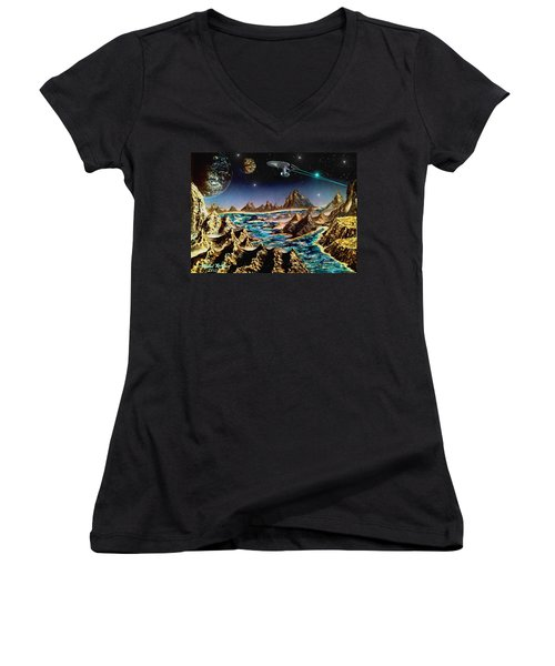Star Trek - Orbiting Planet Women's V-Neck (Athletic Fit)