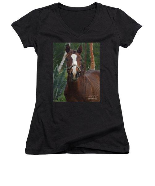Women's V-Neck T-Shirt (Junior Cut) featuring the photograph Stared Down by Peter Piatt