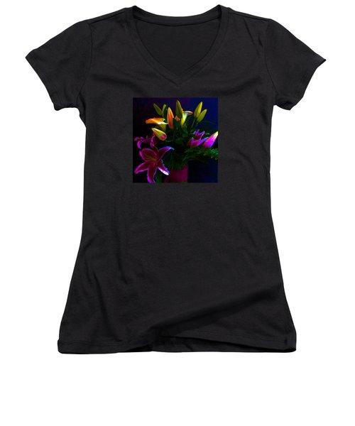 Women's V-Neck T-Shirt (Junior Cut) featuring the photograph Stargazer Bouquet by Carolyn Repka