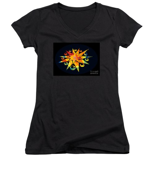 Women's V-Neck featuring the painting Staring Into Eternity Abstract Stars And Circles by Omaste Witkowski