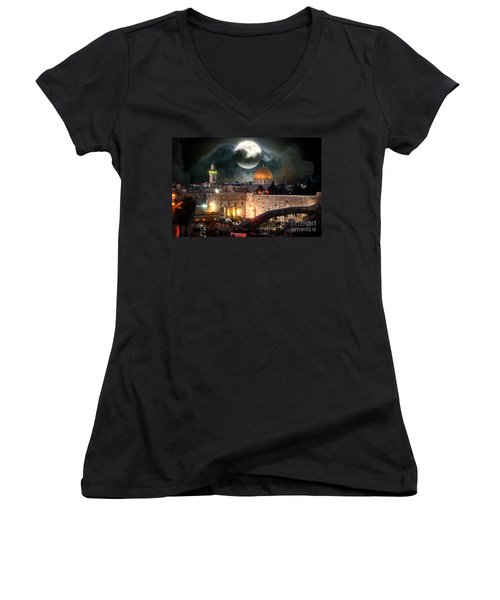 Starry Night At The Dome Of The Rock Women's V-Neck T-Shirt (Junior Cut) by Doc Braham