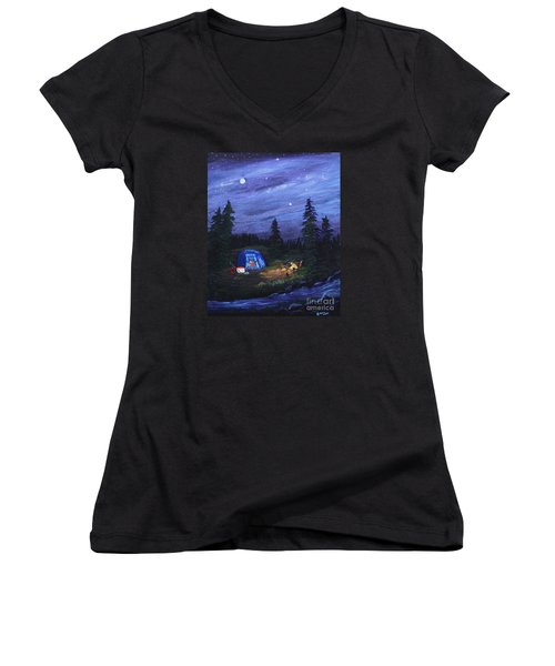 Starry Night Campers Delight Women's V-Neck T-Shirt (Junior Cut) by Myrna Walsh