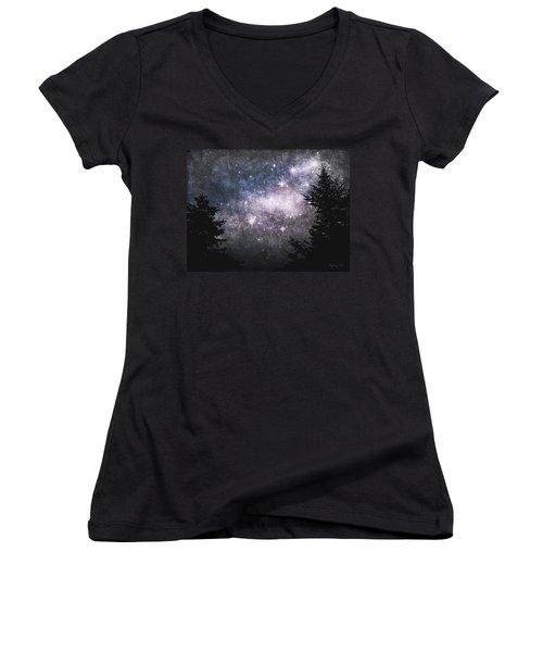 Starry Starry Night Women's V-Neck T-Shirt (Junior Cut) by Cynthia Lassiter