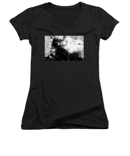 Stars And Cloud-like Forms In A Night Sky Women's V-Neck