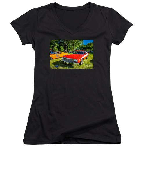 Starsky And Hutch Ford Gran Torino Women's V-Neck T-Shirt