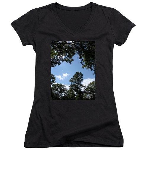 Stately Forest  Women's V-Neck T-Shirt (Junior Cut) by Joseph Baril