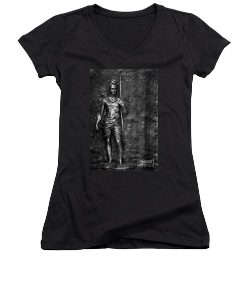 Statue Of Lord Sri Ram Women's V-Neck T-Shirt (Junior Cut) by Kiran Joshi