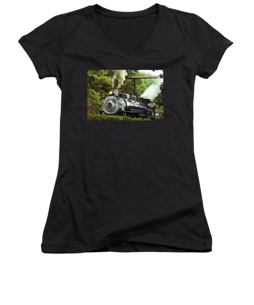 Steam Engine Women's V-Neck T-Shirt (Junior Cut) by Laurie Perry