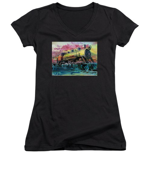 Aaron Berg Women's V-Neck T-Shirt (Junior Cut) featuring the photograph Steam Powered by Aaron Berg