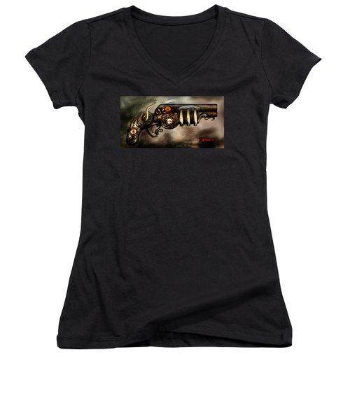 Steam Punk Pistol Mk II Women's V-Neck T-Shirt (Junior Cut) by Kim Gauge