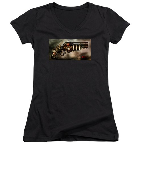 Steam Punk Pistol Mk II Women's V-Neck (Athletic Fit)