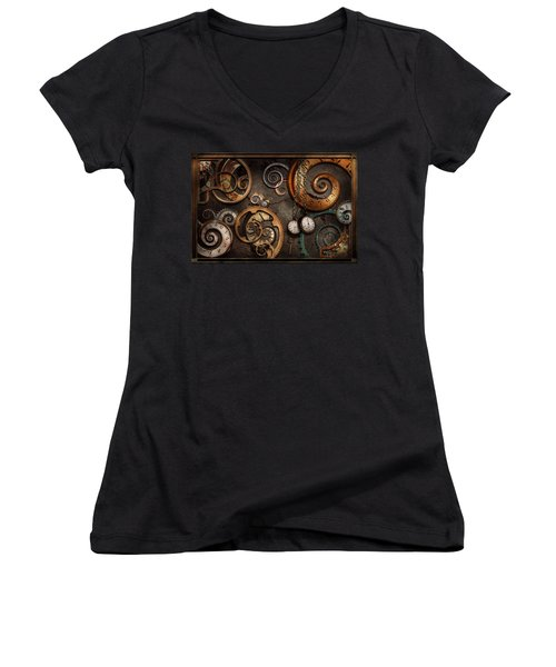 Steampunk - Abstract - Time Is Complicated Women's V-Neck T-Shirt (Junior Cut) by Mike Savad