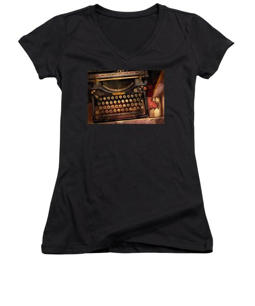 Steampunk - Just An Ordinary Typewriter  Women's V-Neck